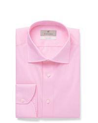 Canali Light Pink Slim Fit Cotton Poplin Shirt