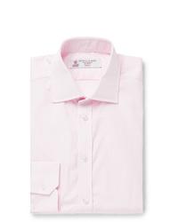 Turnbull & Asser Light Pink Slim Fit Cutaway Collar Striped Cotton Poplin Shirt