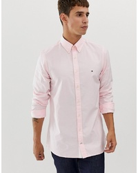 Tommy Hilfiger Oxford Shirt Slim Fit With Pique Flag Logo In Pink