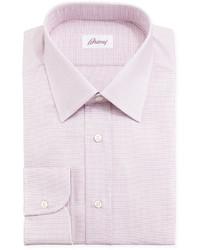 Brioni Tickweave Checked Dress Shirt Pink