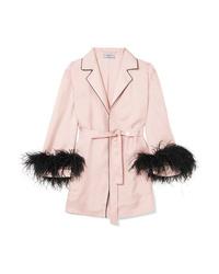 Prada Feather Embellished Silk Twill Robe