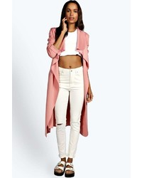 Boohoo Katie Shawl Collar Belted Duster