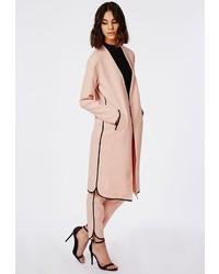 Missguided Dolphin Hem Black Pocket Detail Duster Coat Dusky Pink