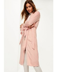 Missguided Pink Tie Cuff Duster Coat