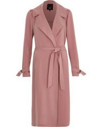 River Island Pink Belted Duster Trench Coat