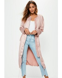 Missguided Pink Utility Silky Duster Coat