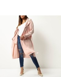 River Island Plus Pink Tie Waist Duster Trench Coat