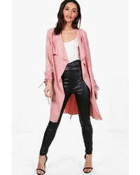Boohoo Rebecca Ruched Sleeve Belted Duster