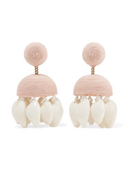 Rebecca de Ravenel Aquazzura Riviera Cord Bead And Shell Clip Earrings