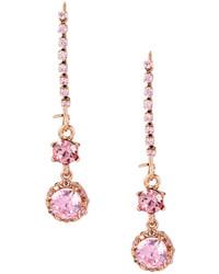 Betsey Johnson Cz Crystal Line Earrings