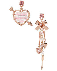 Betsey Johnson Pearl Heart Bow Mismatched Drop Earrings