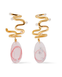Ejing Zhang Santolina Gold Plated Resin And Pearl Earrings