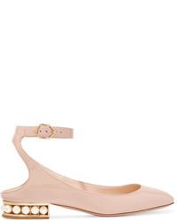 Nicholas Kirkwood Lola Embellished Patent Leather Ballet Flats Blush