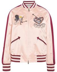 Valentino Embellished Silk Satin Bomber Jacket Blush