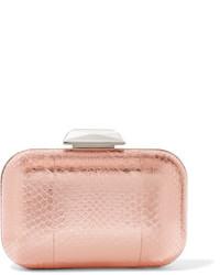 Cloud embellished metallic elaphe clutch pink medium 3659694