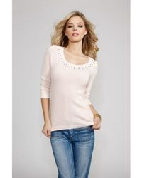 Divine three quarter sleeve embellished sweater medium 25862