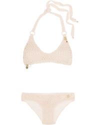 Stella McCartney Embellished Crocheted Stretch Cotton Blend Bikini Pastel Pink