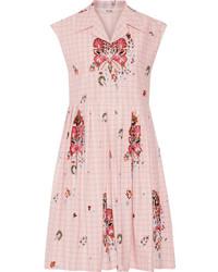 Miu Miu Embellished Cotton Jacquard Dress Pastel Pink