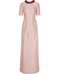 Prada Embellished Wool And Silk Blend Gown Antique Rose