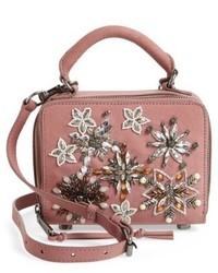 Rebecca Minkoff Embellished Box Leather Crossbody Bag Pink