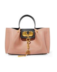 Valentino Garavani Embellished Textured Leather Tote
