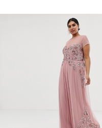 Maya Plus Allover Premium Embellished Mesh Cap Sleeve Maxi Dress In Vintage Rose
