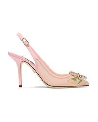 Dolce & Gabbana Swarovski Crystal Embellished Patent Med Floral Print Mesh Slingback Pumps