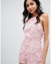 Missguided Pink Fringed Cami Playsuit