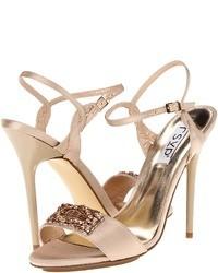 Pink Embellished Satin Heeled Sandals