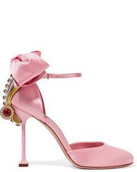 Embellished satin pumps baby pink medium 828938