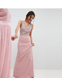 Pink Embellished Sequin Evening Dress