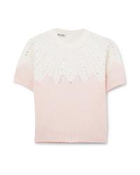 Miu Miu Cropped Embellished Two Tone Cashmere Sweater