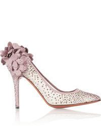 Pink Embellished Suede Pumps