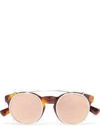 Valentino Embellished Round Frame Acetate And Gold Tone Sunglasses Tortoiseshell
