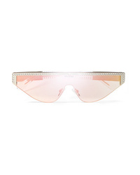 Poppy Lissiman Shield D Frame Crystal Embellished Acetate Mirrored Sunglasses