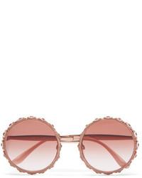Dolce & Gabbana Swarovski Crystal Embellished Round Frame Rose Gold Tone Sunglasses Pink