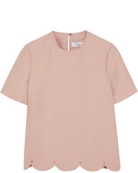 Valentino Embellished Wool And Silk Blend Crepe Top Pastel Pink