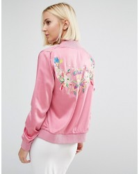 Pink Embroidered Bomber Jacket