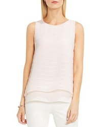 Vince Camuto Embroidered Stripe Double Layer Blouse