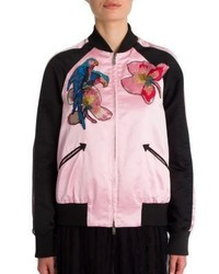 Valentino Embroidered Silk Varsity Jacket