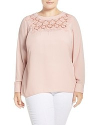 Vince Camuto Plus Size Embroidered Lace Yoke Blouse