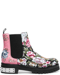 Alexander McQueen Embroidered Printed Leather Chelsea Boots Pink