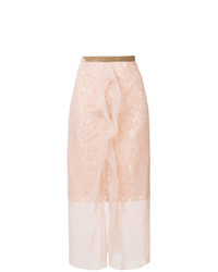 Sacai Embroidered Sheer Midi Skirt