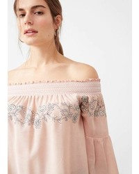 e0f6eba96a60f Pink Embroidered Off Shoulder Tops for Women