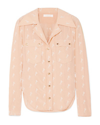 Chloé Embroidered Silk De Chine Blouse