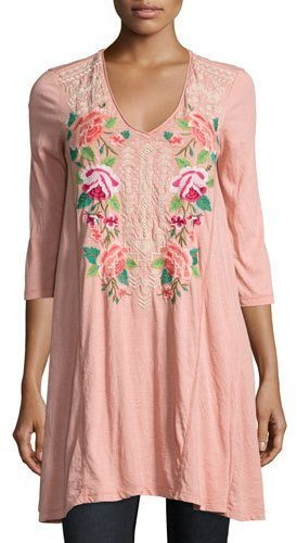 ... Pink Embroidered Tunics Johnny Was Jwla For Dorana 34 Sleeve Embroidered  Tunic ...