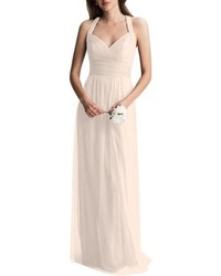 Levkoff Crisscross Strap English Net A Line Gown