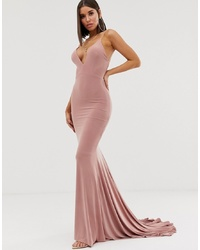 Club L London High Py Back Fishtail Maxi Dress In Pink