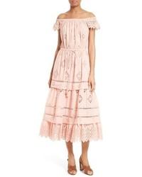 Sea Margheita Eyelet Off The Shoulder Midi Dress