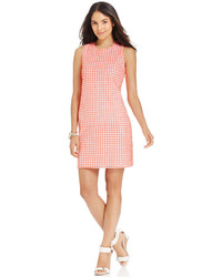 Petite eyelet crochet back shift dress medium 339370